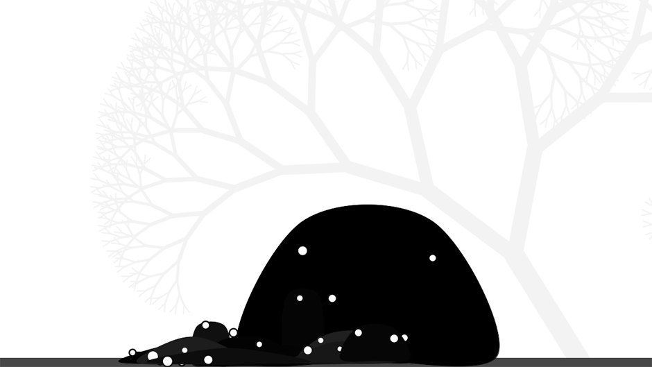 blobs in front of a tree