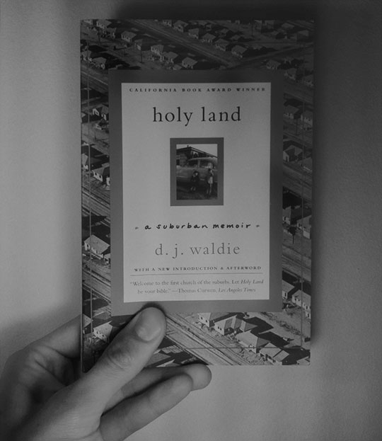 image of the book, holy land, held up with one hand for scale.