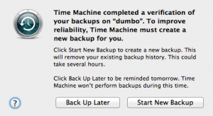 time machine completed a verification of your backups. To improve reliability, Time Machine must create a new backup for you.