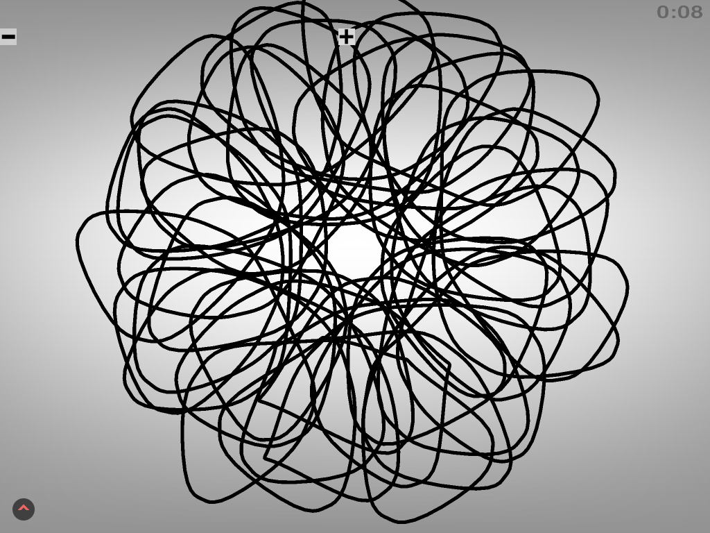 Spirographic circular shape in black and white.