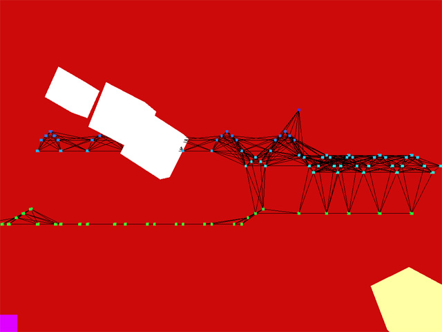 Nodes connected by lines moving across a red background.