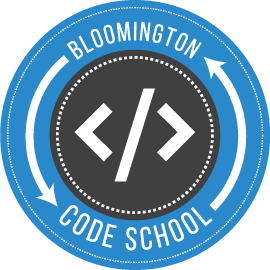 Circular logo for Bloomington Code School